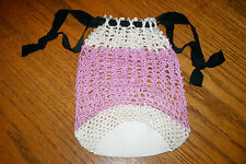 Vintage Women's Drawstring Purse Lavender Ivory Black Crocheted
