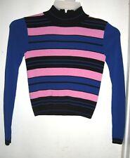 TopShop Pink Blue Black Striped Viscose Nylon Knit Sweater US 2 UK 6