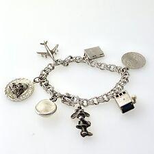 "Sterling Silver World Wide 7 Charms Link Bracelet 7""Inch  #23"