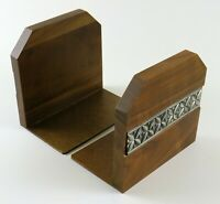 Vintage Wooden Bookends With Decorative Metal Floral Strip
