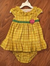 Genuine Baby By Oshkosh yellow baby dress with diaper cover size 9 months