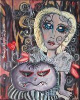 Faery Vampire Pumpkin Gothic Art Card 2.5 X 3.5 by Artist Kimberly Helgeson Sams