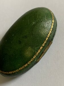 Delightful Antique Hinged Oval Shaped Brooch Box