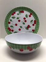 """PRECIDIO Melamine Cherry Serving Set 11"""" Bowl & 14"""" Platter Plate"""