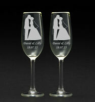 Personalised Engraved Champagne Glasses Wedding Anniversary hen do/set of 2