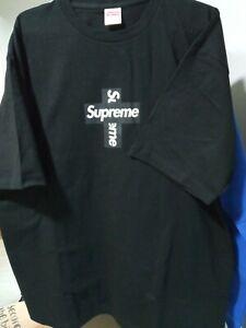 Supreme cross box logo Tee Black medium M authentic