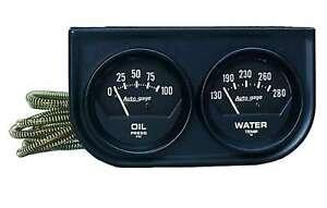 "AUTOMETER BLACK GAUGE PACK WATER & OIL 2"" DIA X 2 BLACK FACE MECHANICAL"