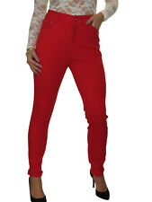 NEW Smart High Waisted Stretch Thick Jersey Jeans Red 10-24