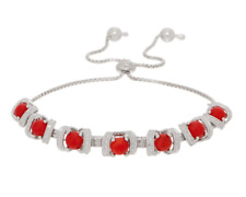 STERLING SILVER CORAL DIAMOND CUT BOX CHAIN ADJUSTABLE BRACELET QVC $92.00