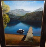 DECELL ORIGINAL ACRYLIC ON CANVAS MOUNTAIN LAKE LANDSCAPE PAINTING