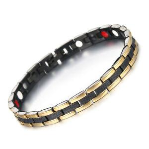 New Design Gold Black Titanium Magnetic Style Polished Bracelet Medical Chain