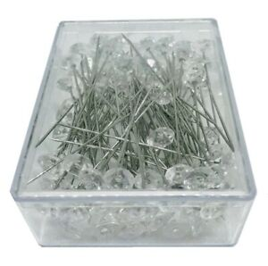 100 Clear Diamante Crystal Diamond Shape Pins 8mm Head with 51mm Length - FL1020