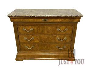 Henredon Charles X Marble Burled Elm Commode Chest Dresser