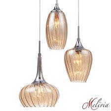 Hängelampe Pendelleuchte Glas Bernstein Deckenlampe 3x40W Hängeleuchte Lampe E14