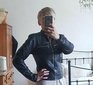 Vintage Ladies' Genuine Leather Black Biker Jacket Size 10.
