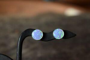 925 STERLING SILVER BLUE OPAL GEMSTONE STUD EARRINGS TRIPLE COLOUR 8mm