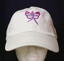 Butterfly Ribbon Baseball Hat Breast Cancer Awareness Cap Stone Pinks Embroidery