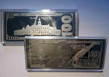 2 X 2018 PROOF 4oz CURRENCY SILVER BARS IN HARD PLASTIC 8 OZS FRANKLIN $100  COA