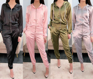 New Womens Satin Zip Up Tracksuit Co-Ord Set Ladies Lounge Loungewear Two Piece