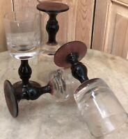 Série de 4 Verre Soufflé XIXeme Ancien Bistrot Art de La Table Service Glass