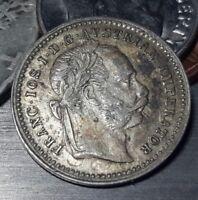 1872  Austria 10 Kreuzer Silver  AU beautiful example of a historic coin