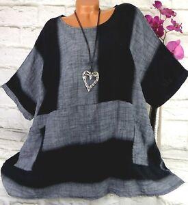 Shirt T-Shirt Tunika Bluse Lagenlook Top Oversize Baumwolle Gestreift 50 52 54