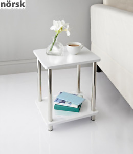 Norsk White-High Gloss 2 Shelf Unit Coffee Side Table With Stainless Steel Legs