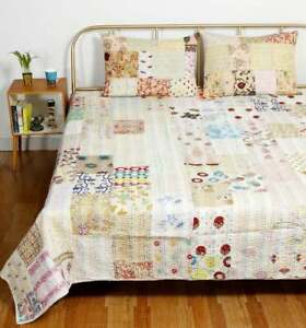 White Vintage Handmade Silk Bedspread Kantha Patchwork Twin Quilt Coverlet Throw