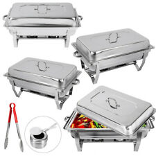 4 Pcs Chafing Dish Sets Buffet Catering Stainless Steel W/Tray Folding Chafer
