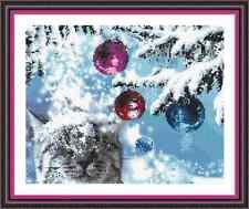 """'SNOW FALL CHRISTMAS CAT' Cross Stitch Chart (10"""" x 8"""") Xmas/Kitten FREE UK P&P"""