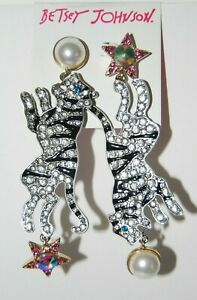BETSEY JOHNSON MAGICAL CREATURES LARGE TIGER LONG DROP PIERCED HANGING EARRINGS