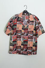 Surf's Up Button Up Shirt Sz L Men's Green Brown Red Surfing Collage Print