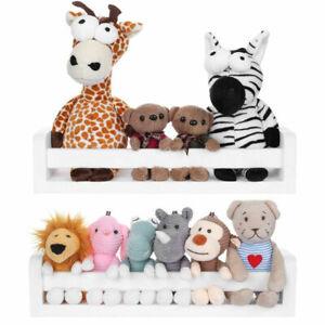 Set Of 2 Floating Wall Shelves Nursery Storage Display White Bookshelf Toy Shelf