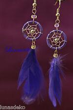 Handmade Traumfänger Ohrringe Gehänge mit Federn originell lila schön