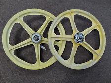 Yellow BMX Bike Mag Wheels Wheelset 20 in Pair Yellow Coaster Brake Bicycle