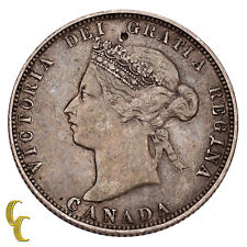1874-H Canada 25 Cents Coin (VF) Very Fine Condition