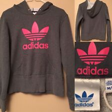 Adidas Size M Gray & Pink Trefoil Cotton Sweatshirt Pullover Hoodie Woman