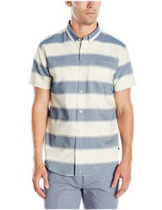 Tavik Men's Shin Short Sleeve Stripe Woven, Bone/Blue, X-Large