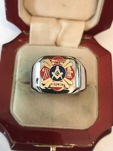 """New Men's Heavy Solid Stainless Steel  """"Masonic Fire Fighters"""" Ring"""