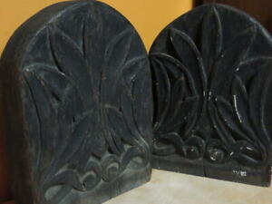 """Wood Wooden 7""""x5"""" Bookends hand carved Oak 19th Victorian or 20th Arts & Crafts"""