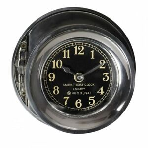 "US Navy WWII Mark I Ship Deck Clock 6.25"" Polished Aluminum Nautical Boat Decor"