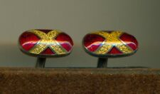 Stunning Sterling English? guilloche double side red gold enamel cuff links!