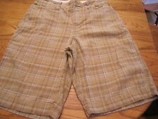 Urban Pipeline Mens Size 30 Brown & Blue Plaid Chino Shorts 100% Cotton
