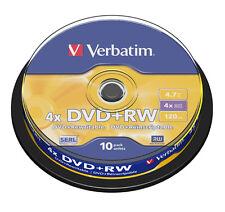 TARRINA 10 DISCOS VERBATIM REGRABABLE DVD + RW 4X 43488 4.7 GB ENVIO CERTIFICADO