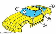 1994 Corvette Weatherstrip - Coupe Kit, 7 Pc., Includes Adhesive