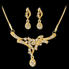 Fashion Gold Plated Rhinestones  Necklace Earrings Jewelry Set For Women Gift