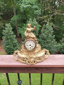 Antique French figural gold gilt mantle Heco clock Maiden grapes needs repair