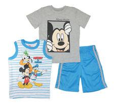 Mickey Mouse Boys Gray & Blue Top 3pc Short Set Size 4 5 6 7