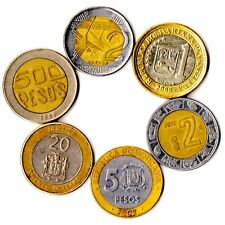 6 COINS FROM 6 DIFFERENT COUNTRIES BIMETAL COINS NORTH, SOUTH, LATIN AMERICA