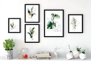 Fern Leaf Palm Botanical Print Set of 5 Monstera Wall Art Green Leafy Home Decor